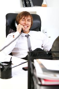 Free Successful Businessman Talking By Phone Stock Photography - 22856662