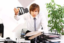 Free Angry Businessman In His Office Stock Photos - 22856673