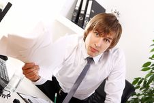 Free Angry Businessman In His Office Stock Photography - 22856682