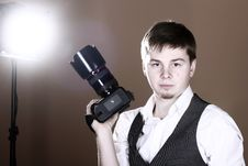 Photographer With Camera Stock Images