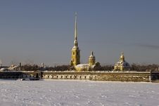 Kind On The Peter And Paul Fortress In The Winter Royalty Free Stock Photos