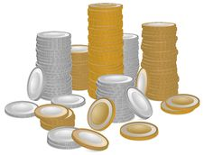 Free Gold And Silver Coins Royalty Free Stock Photos - 22864448