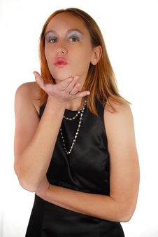 Free Girl Blowing Kiss Royalty Free Stock Photo - 22869155