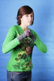 Free Girl Looking Tough Royalty Free Stock Image - 22871246