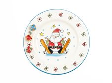 Free Santa Claus Painting On Plate Stock Images - 22877564