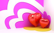 Free 3d Hearts Background Stock Image - 22877921