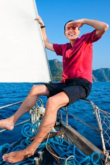 Free Smiling Young Man On The Yacht Royalty Free Stock Photography - 22880687
