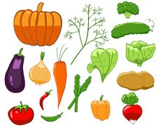 Set Of Colorful Vegetables Stock Photos