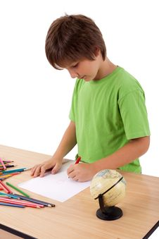 Free Young Boy Near Table Drawing Stock Photos - 22891783