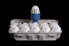 Free Eggs With Smiley Faces In Eggshell With A Boss Stock Photography - 22891842