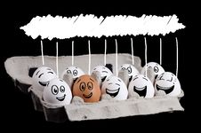 Free Happy Group Of Eggs With Copyspace Stock Photography - 22891852