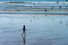 A Boy Running On The Ocean Beach Stock Images