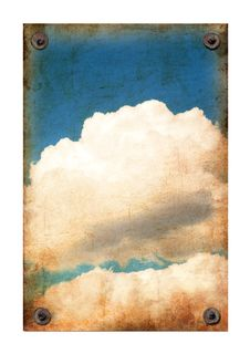 Grunge Paper Texture With Blue Sky And Clouds Stock Photos