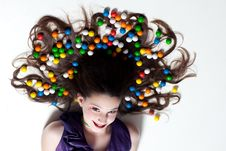 Free Pretty Girl With Candy Makeup Stock Images - 22896854