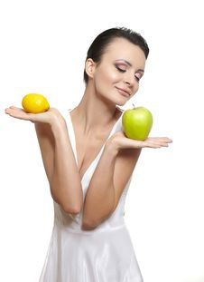 Free Happy Smiling Girl With  Fruits Lemon Green Apple Royalty Free Stock Photos - 22898788