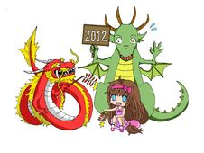 Chinese New Year Dragon Vs. Zodiac Dragon Stock Photography