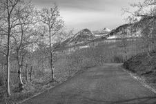 Black And White Mountain Road Royalty Free Stock Photos