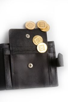 Wallet With Gold Coins Stock Images