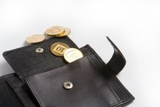 Wallet With Gold Coins Stock Photography