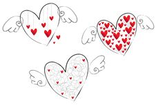 Free Three Flying Hearts Royalty Free Stock Image - 22900296
