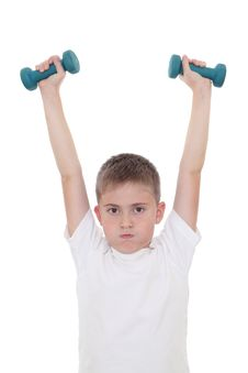 Free Boy With Dumbbells Stock Photos - 22903083