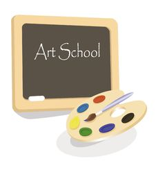 Art School Emblem With Palette Stock Photography