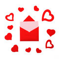 Free Red Paper Envelope With Pink Card And Hearts Stock Photos - 22917493
