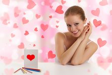 Beautiful Girl With  A Postcard Valentine Royalty Free Stock Photography