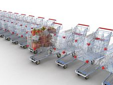 Shopping Trolley And Gifts Stock Photo