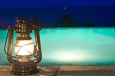 Free Lamp And Jacuzzi With Night Views Stock Photography - 22913842