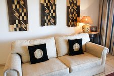 White Designers Couch With Cushions Stock Images