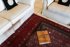 White Couches With Book On Coffee Table Royalty Free Stock Photography