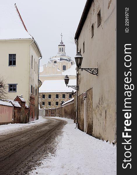Saint ignatius street in winter oldtown Vilnius