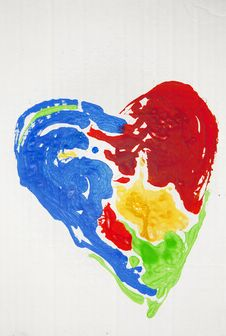 Free Painted Heart Royalty Free Stock Image - 22920496