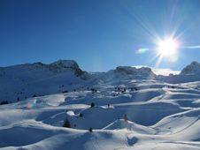 Snow Covered Alpine Scene Stock Photography