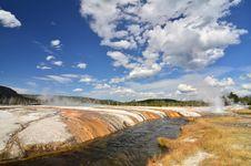 Creek Runs Through Black Sand Basin At Yellowstone Royalty Free Stock Images