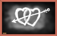 Free Illustration Of Hearts On Black Chalk Board. Royalty Free Stock Image - 22921776