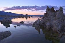 Tufa Formations At Mono Lake, California At Sunset Stock Images
