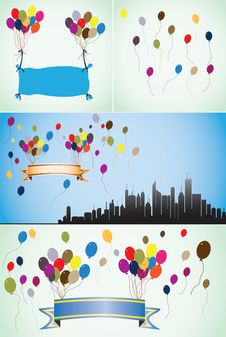 Free Colorful Balloons, Blank Banners And Ribbons. Royalty Free Stock Images - 22926679