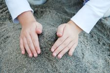 Free Kid Building A Tower With A Sand Stock Photography - 22927402