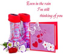 Free Rubber Boots And Greeting Card Stock Images - 22927834