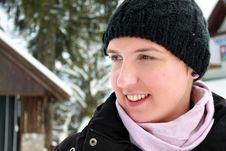 Happy Young Woman On Her Winter Holiday Royalty Free Stock Photos