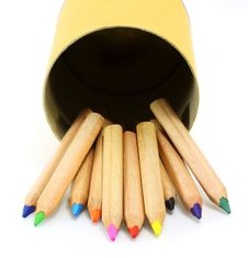 Free Color Pencils In Cardboard Box Stock Photography - 22930172