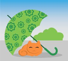 Free Cat And Umbrella Royalty Free Stock Photos - 22930418