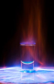 Burning Drink In Shot Glass Royalty Free Stock Photography