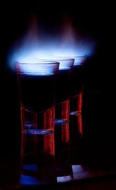 Burning Drink In Shot Glass Stock Photo