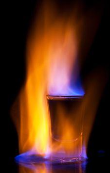 Burning Drink In Shot Glass Stock Image