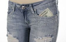 Free Jeans Front Pocket With Money Inside Stock Photography - 22932742