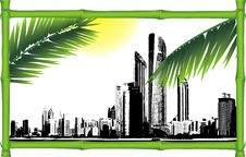 Free Panorama Of City In The Decorative Bamboo Frame Royalty Free Stock Images - 22932889