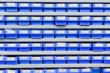 Free Plastic Boxes In Storage Stand Royalty Free Stock Photo - 22941975